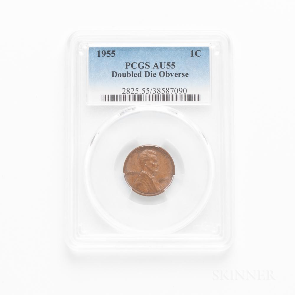 1955 Doubled Die Obverse Lincoln Cent, PCGS AU55BN.     Estimate $800-1,200