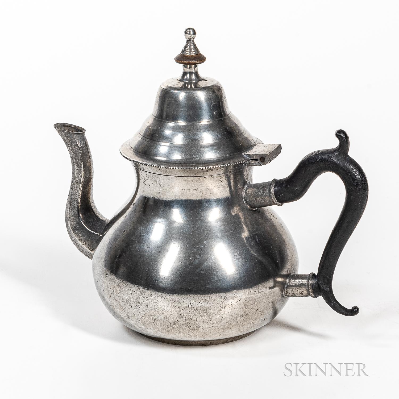 Josiah Danforth Pear-shape Pewter Teapot