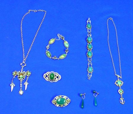 Seven European Silver and Green Stone Jewelry Items