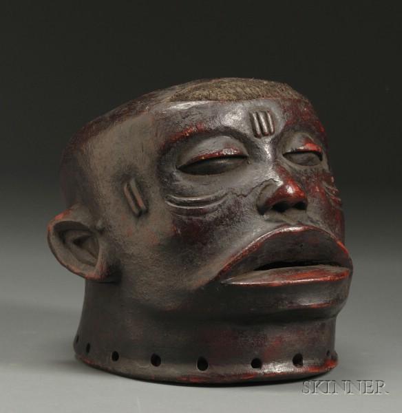 African Carved Wood Helmet Mask