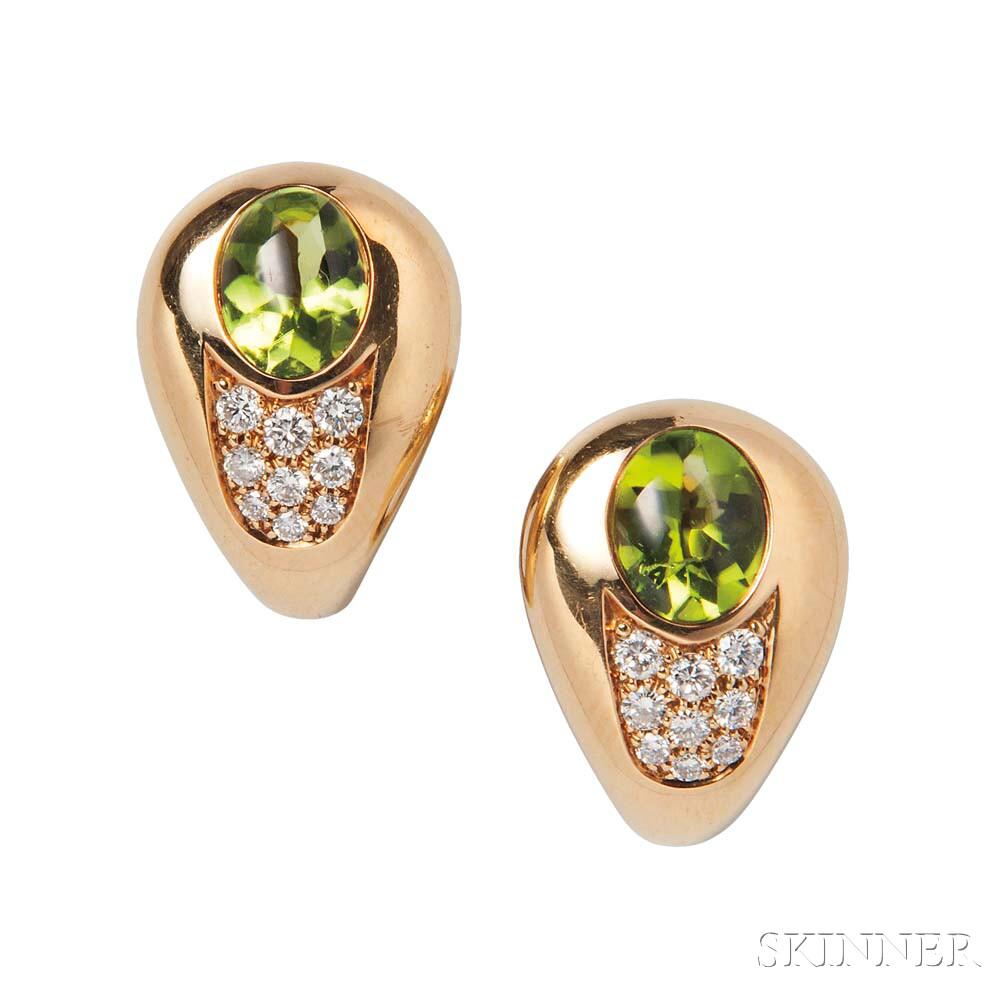 18kt Gold, Peridot, and Diamond Earclips, Mauboussin