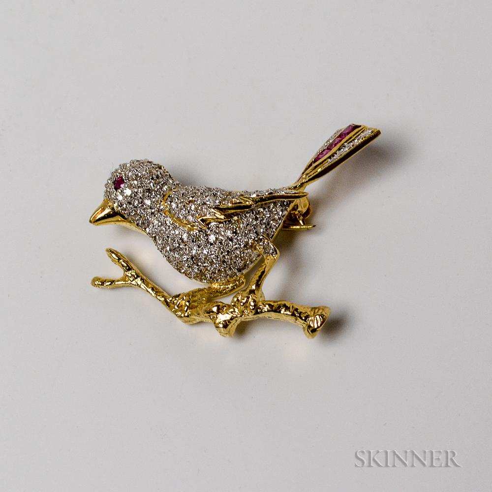 14kt Gold, Diamond, and Ruby Bird Brooch
