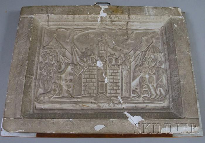 Cast Plaster Relief Castle Siege Scene PAM PELVIN   Plaque