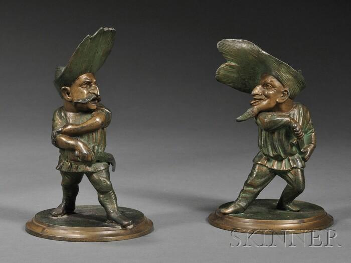 Pair of Figural Gilt and Verdigris Spelter Candleholders