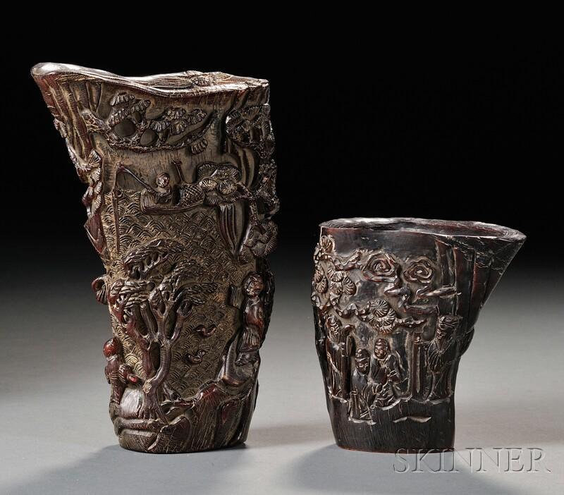 Two Buffalo Horn Libation Cups