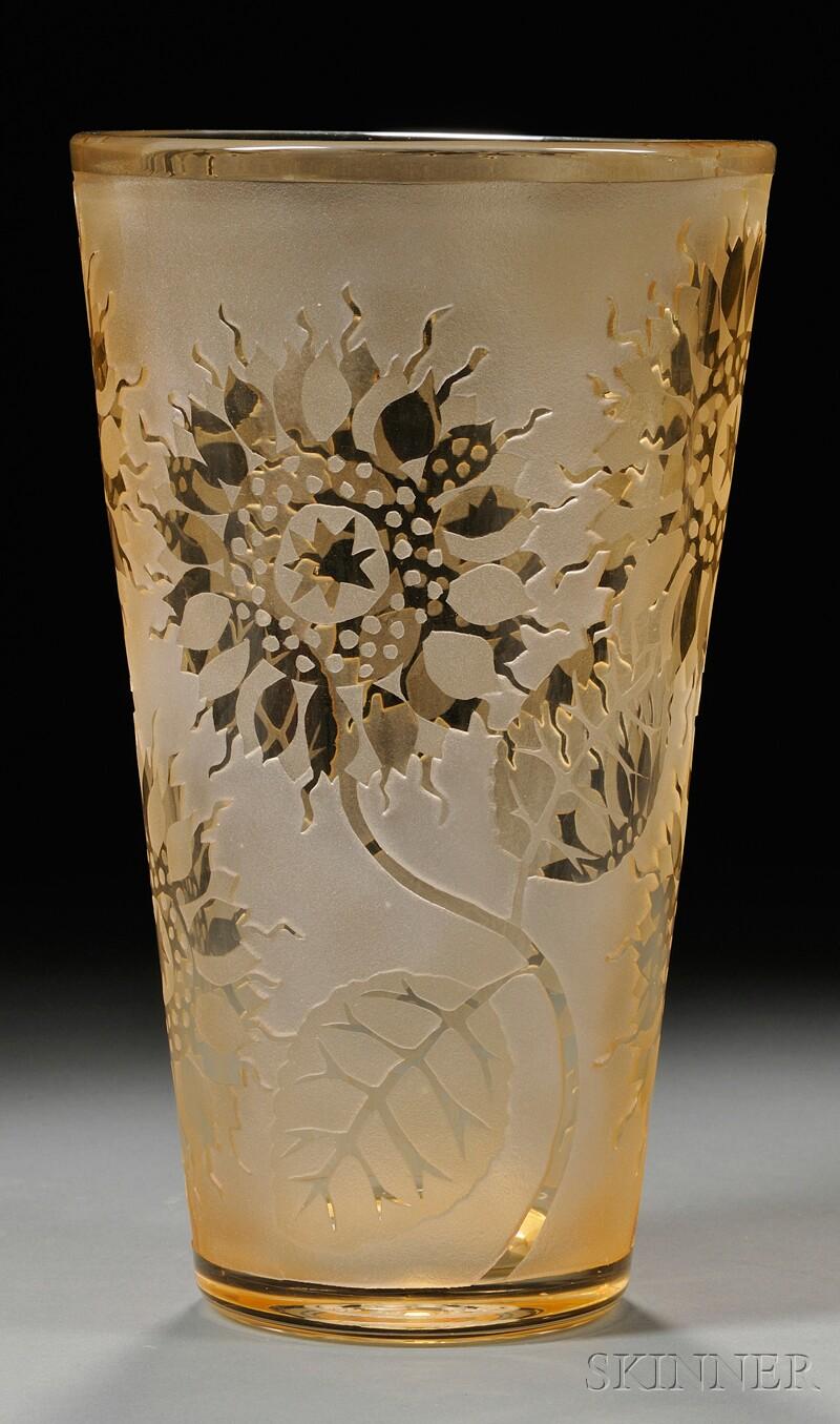 Art Deco-style Cameo Glass Vase