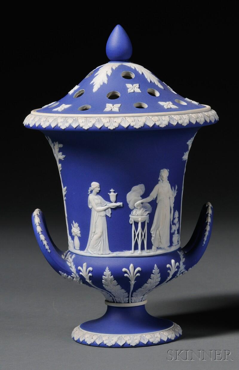 Wedgwood Dark Blue Jasper Dip Potpourri Vase and Cover