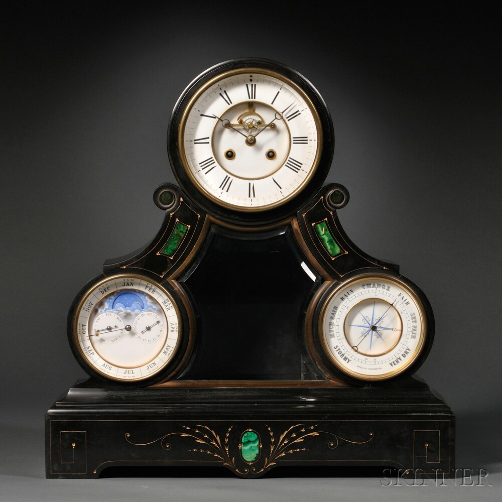 Triple Dial Belgian Slate Shelf Clock