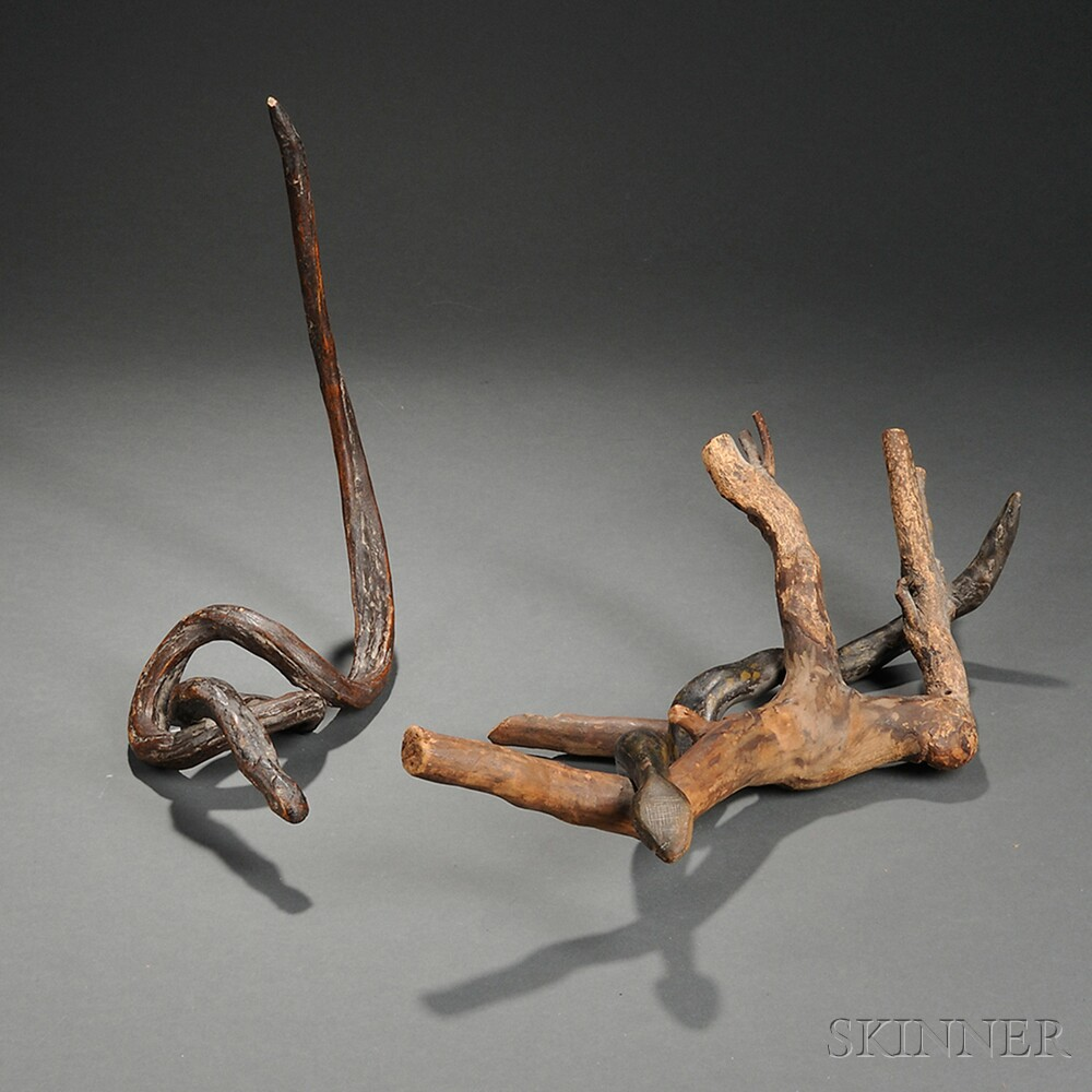 Two Carved Root Snakes