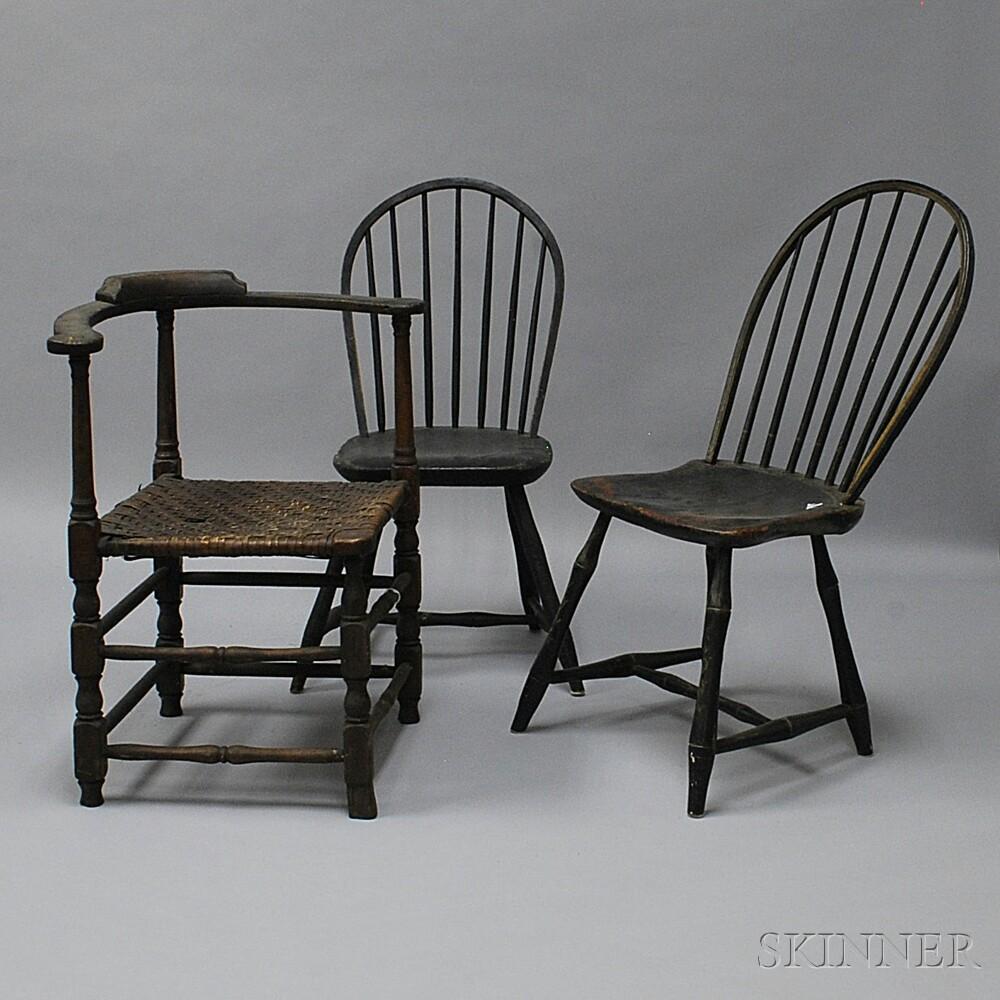 Three Black-painted Chairs