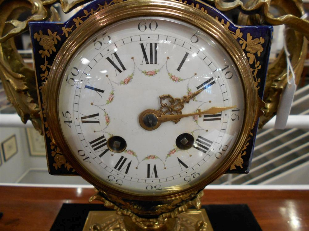 Sevres-style Three-piece Gilt-bronze Clock Garniture