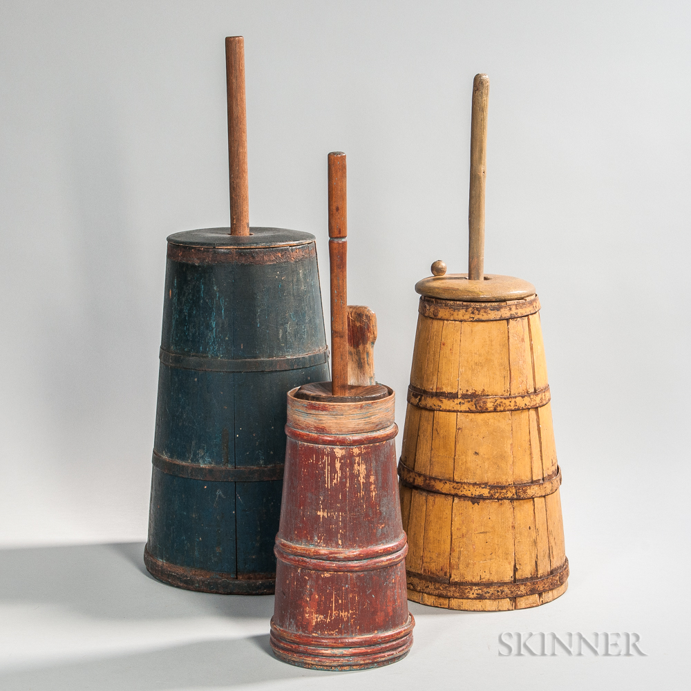 Three Painted Hoop- and Stave-constructed Butter Churns