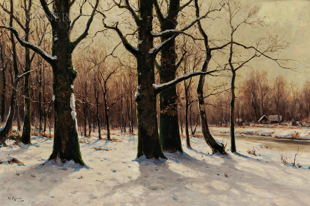 Walter Moras (German, c. 1856-1925)      Sunlight through Trees in Winter