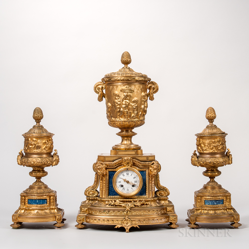 Dore Bronze and Lapis Three-piece Clock Garniture