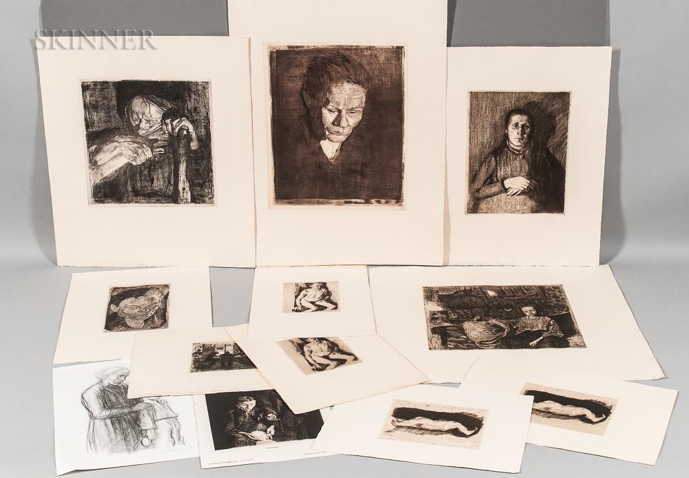 Käthe Kollwitz (German, 1867-1945)      Ten Posthumous Impressions:   Gesenkter Frauenkopf