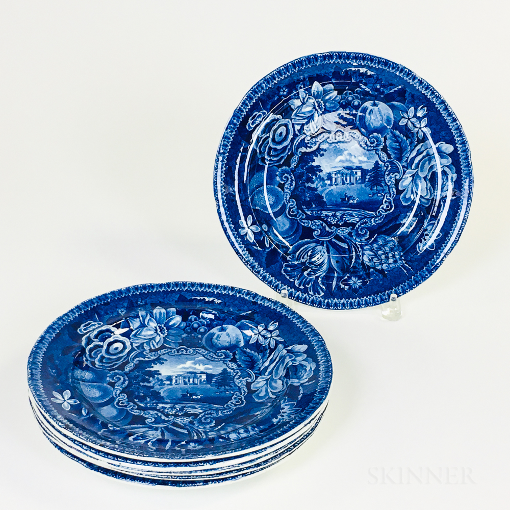 "Set of Six R. Hall's ""Select Views"" Staffordshire Blue Transfer-decorated Plates"