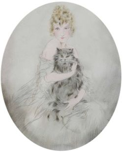 Attributed to Louis Icart (French, 1888-1950)  Her Pet