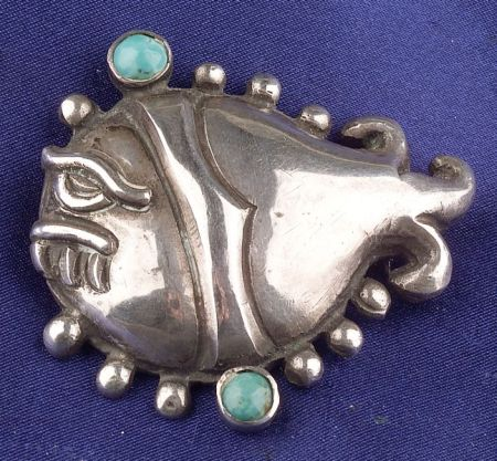 Silver and Turquoise Blowfish, Matl, Taxco