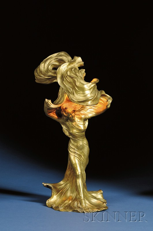 French Art Nouveau Gilt Bronze Figural Lamp,