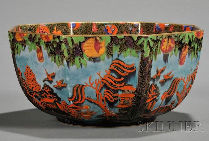 Wedgwood Lustre Willow Pattern Octagonal Bowl