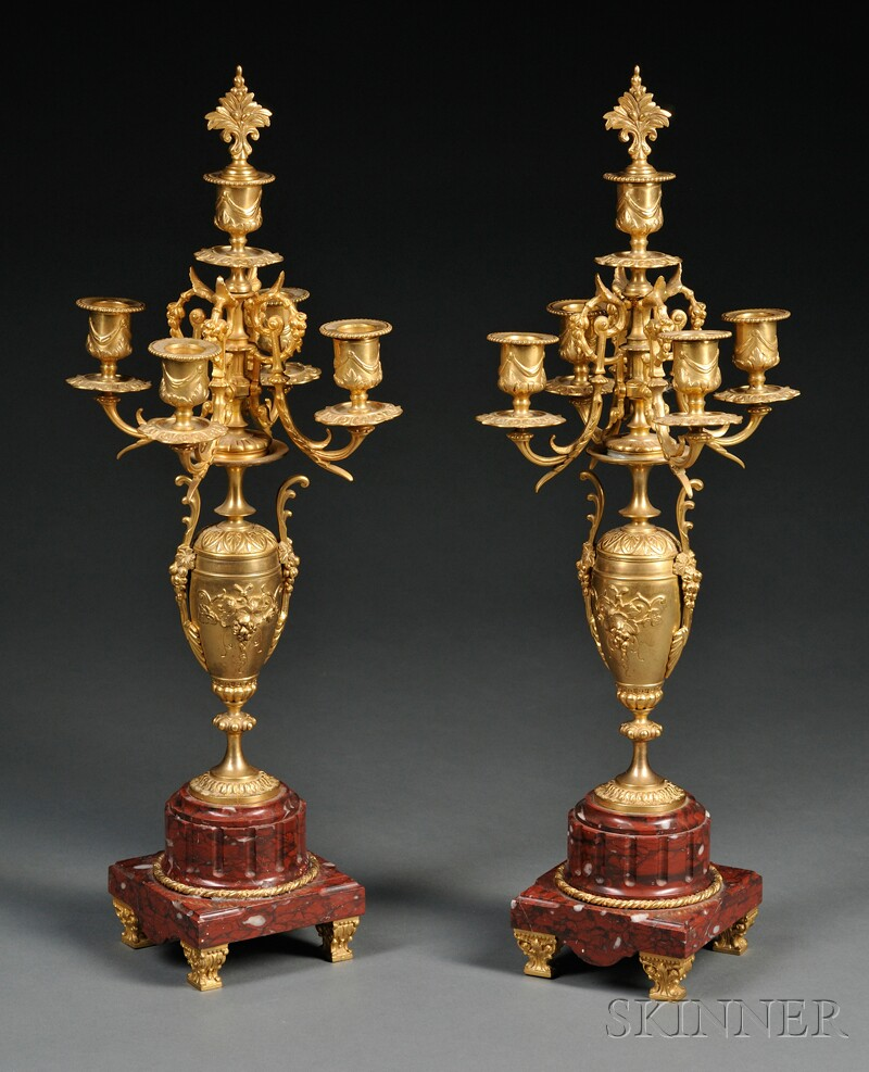 Pair of Gilt-bronze and Rouge Marble Five-light Candelabra