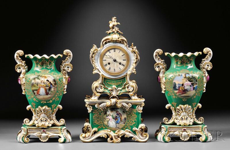 Three-piece Paris Porcelain Garniture with Clock and Vases