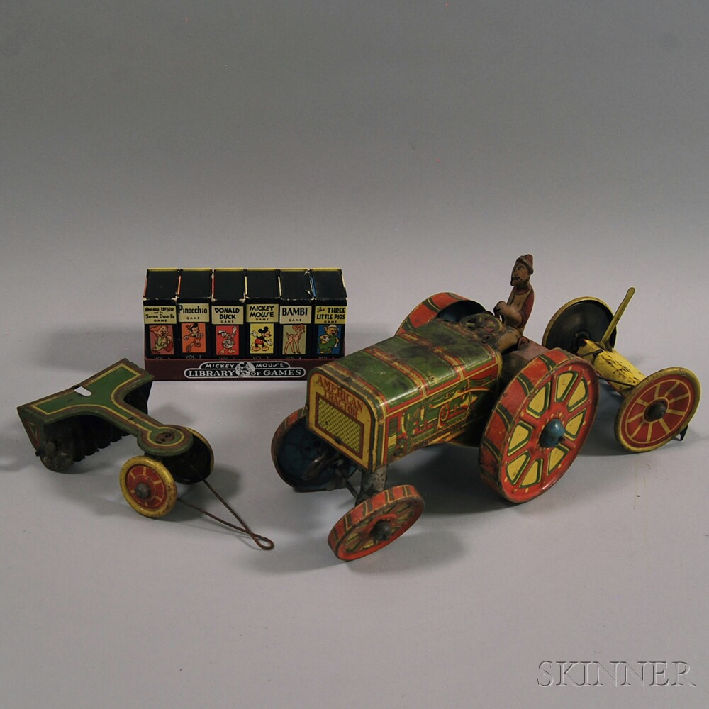 Marx Lithographed Tin Wind-up Tractor Toy and a Boxed 1946 Mickey Mouse Library of   Games Card Game Set