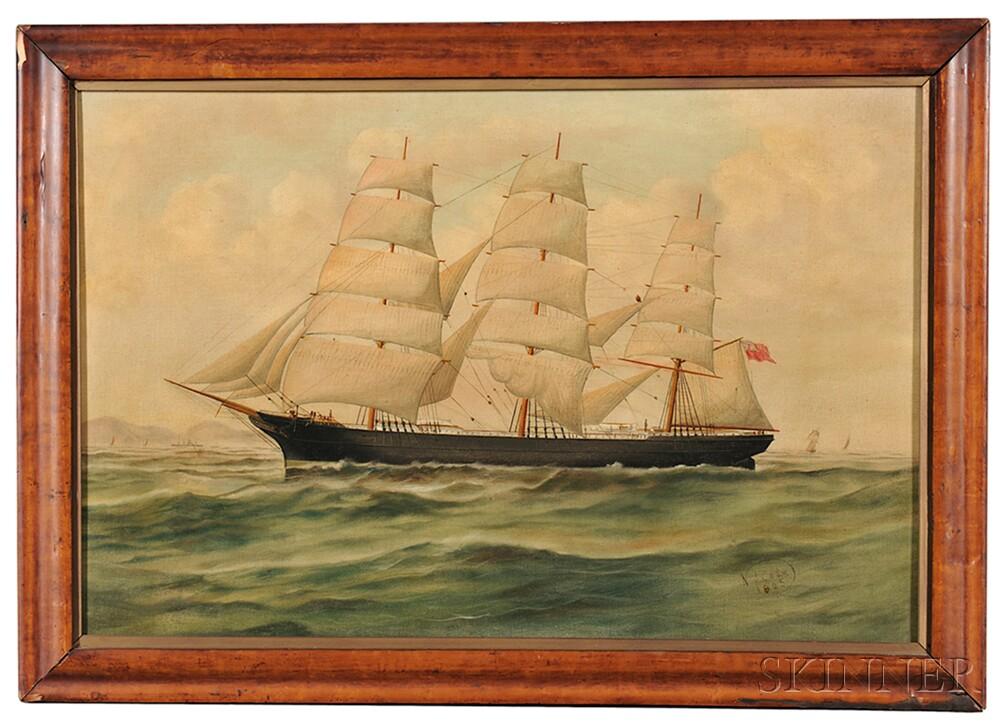 American School, 19th Century      Portrait of the English Merchant Vessel Glendore Entering Port.