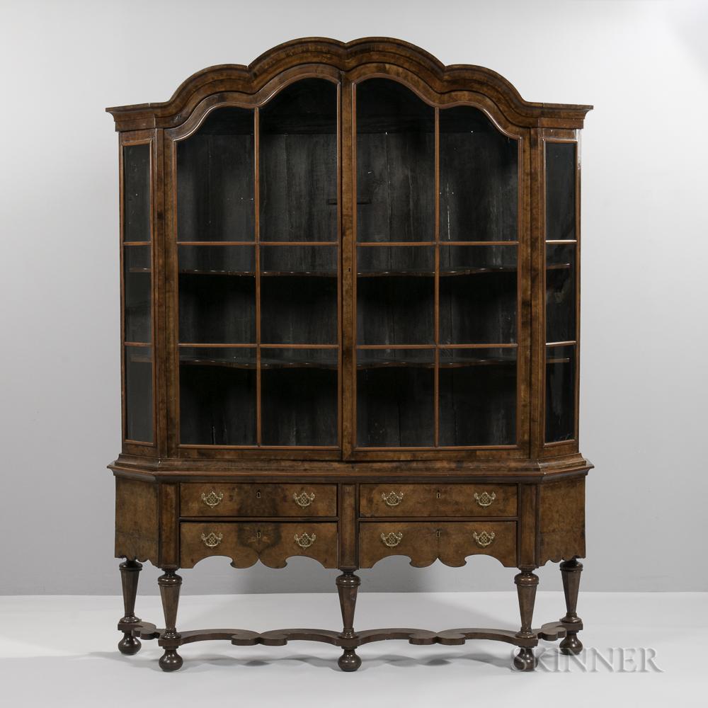Dutch baroque style glazed walnut display cabinet sale for Baroque 2 door accent cabinet