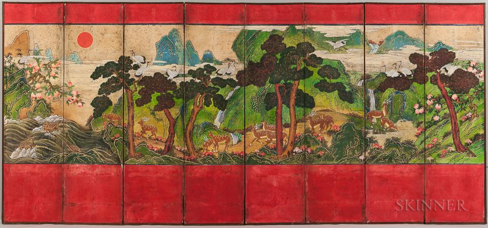 Eight-panel Sipjangsaengdo   Folding Screen