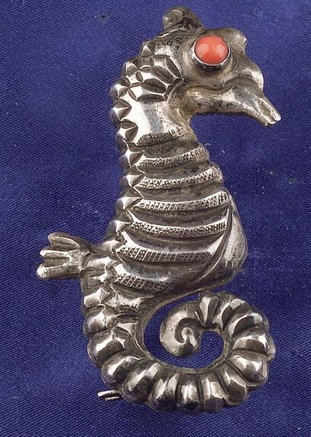 Silver and Coral Seahorse Brooch, Matl, Taxco