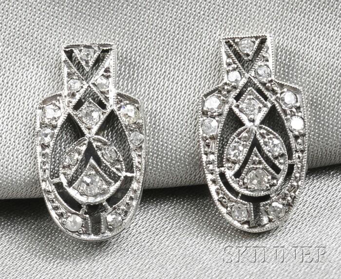 Art Deco Diamond Earclips