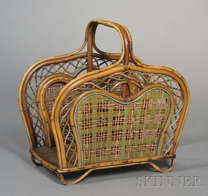 Bamboo and Polychrome Rattan Magazine Stand