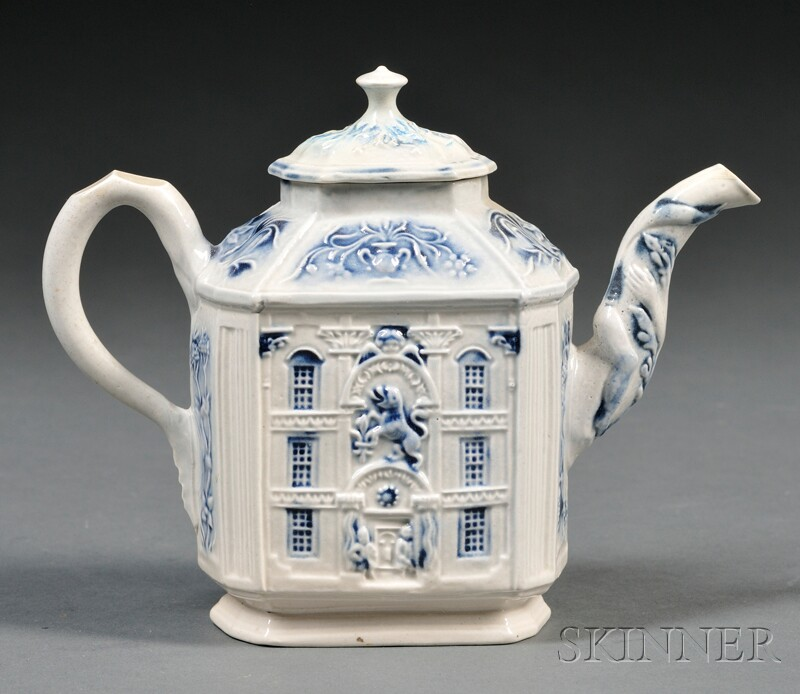 Staffordshire Salt-glazed Stoneware Mansion Teapot and Cover