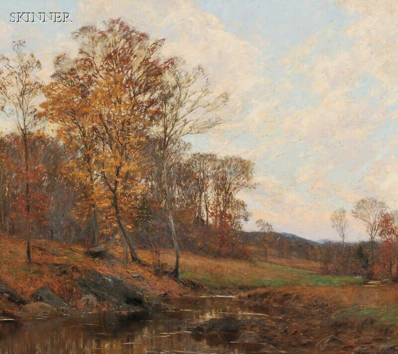 William Merritt Post (American, 1856-1935)      Country Stream in Autumn