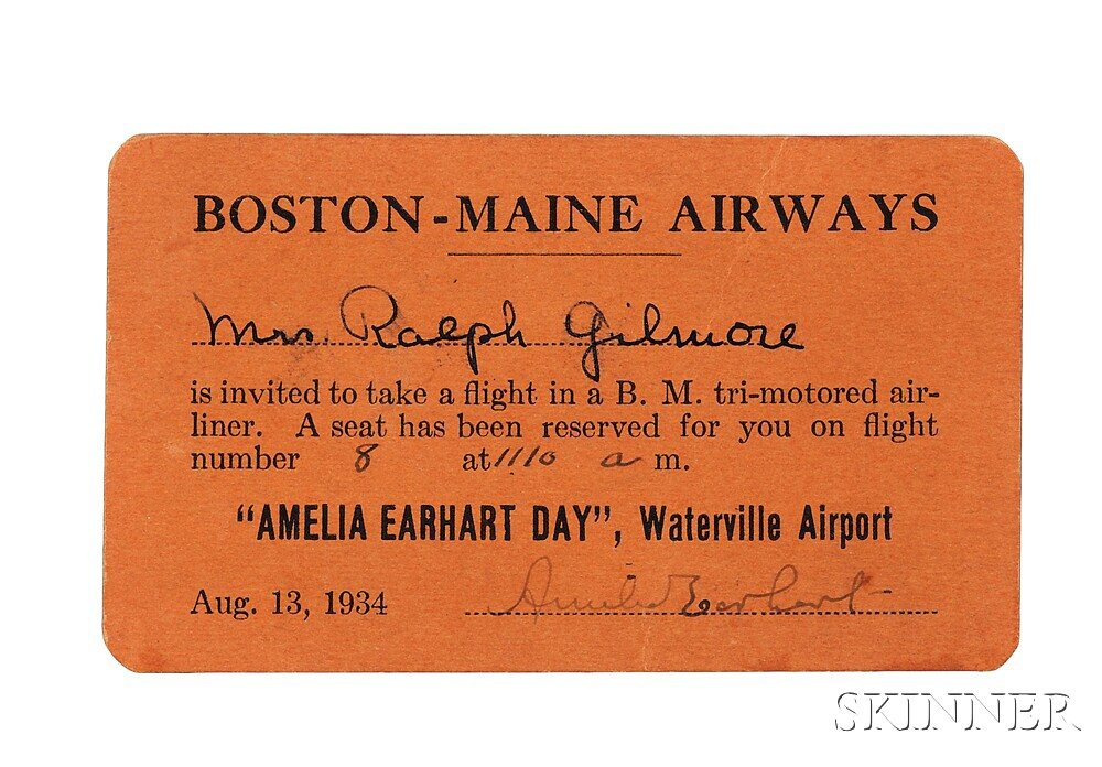 Earhart, Amelia (1897-1937) Signed Ticket to Amelia Earhart Day, Waterville Airport, 13 August 1934.