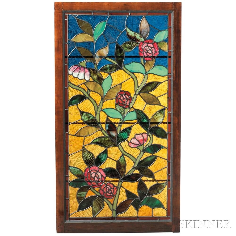 Mosaic Glass Window with Overwindow