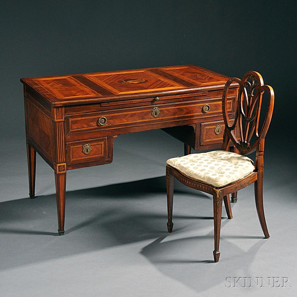 Louis XVI Kingwood- and Tulipwood-veneered Bureau Plat