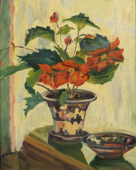 Alfred S. Mira  (American, 1900-1980/1)      Potted Poinsettia