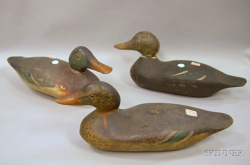 Set of Three Carved and Painted Wooden Working Duck Decoys.