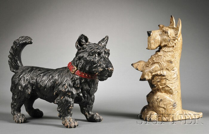 Two White Metal Terrier Figures
