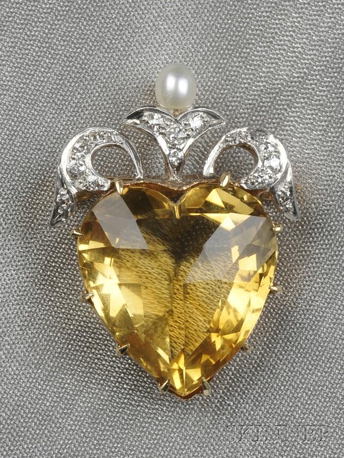 Edwardian Citrine and Diamond Heart Pendant/Brooch