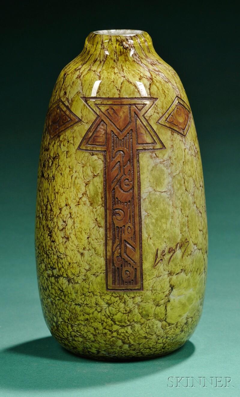 Legras Art Deco Decorated Glass Vase