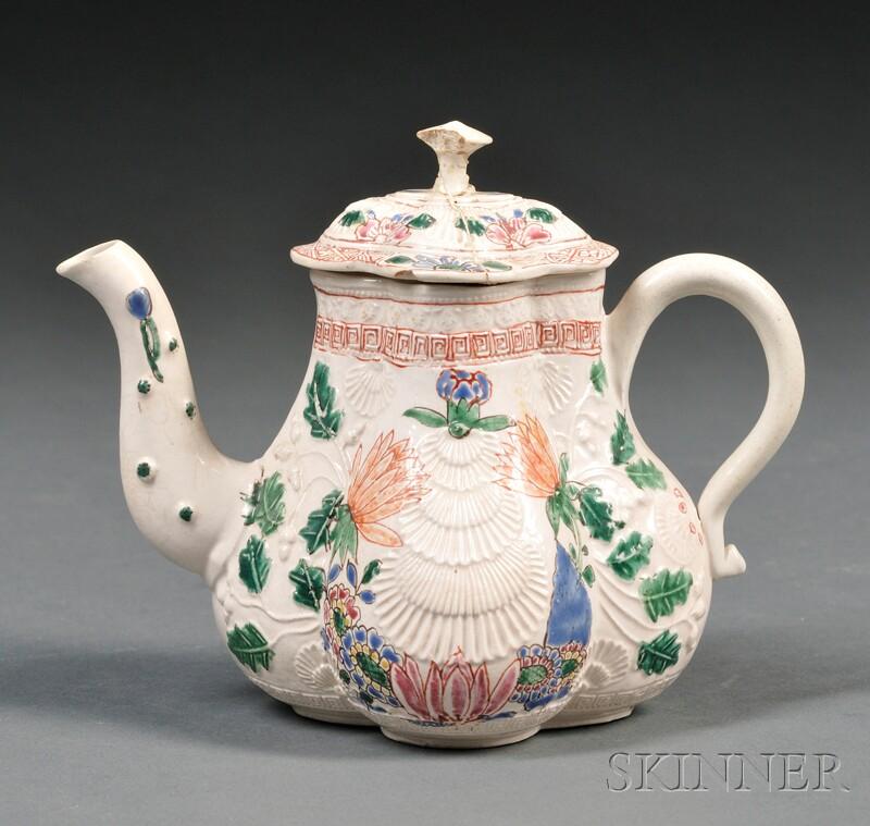 Staffordshire Salt-glazed Stoneware Lobed Teapot and Cover
