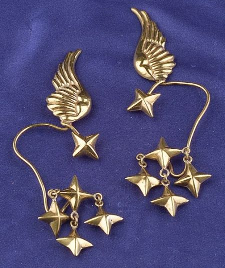 Brass Earpendants, Hubert Harmon, Taxco