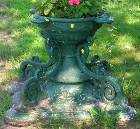 Victorian Green Painted Cast Iron Garden Urn with Radiating Flowerpot Sockets with Scrollwork Supports
