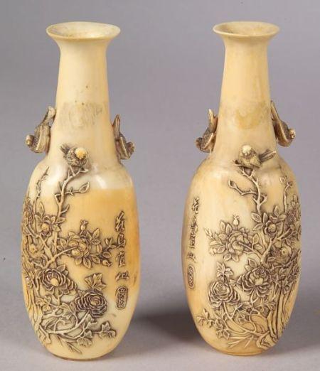 Pair of Ivory Vases