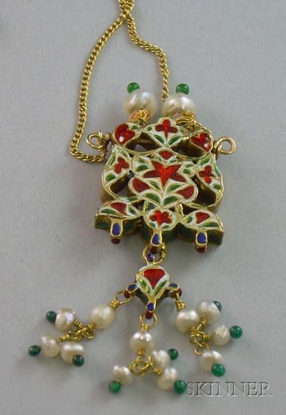 Diamond, Enamel, and Seed Pearl Pendant, India