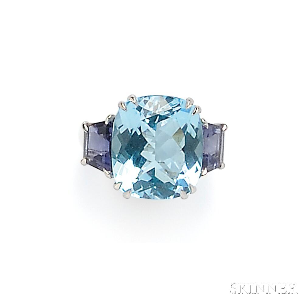 18kt White Gold, Blue Topaz, and Iolite Ring, Seaman Schepps
