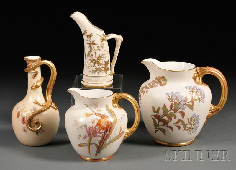 Four Royal Worcester Porcelain Jugs